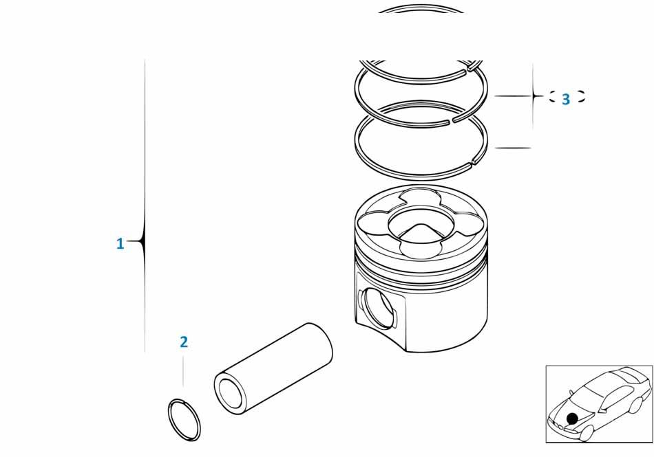 Кольца поршневые (комплект на 1 поршень) Бмв Е87 ЛСi 1 серия