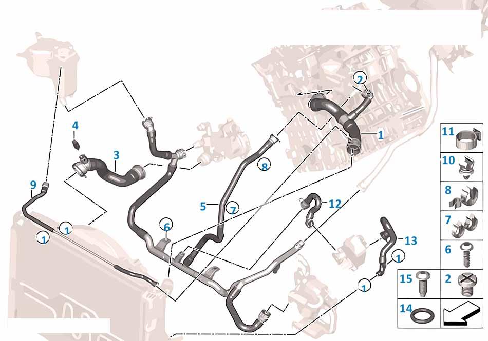 Патрубок системы охлаждения Бмв Е87 1 серия