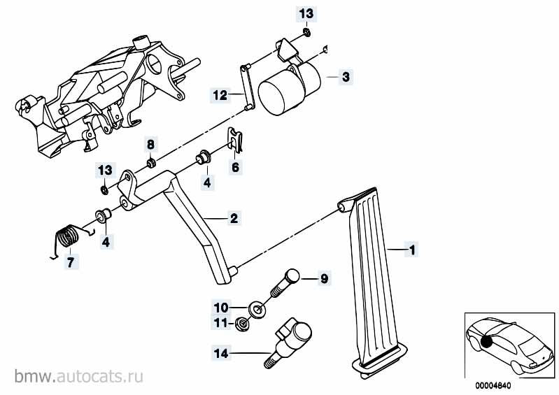 Педаль газа Порше ГТС 2012-2016 Boxster