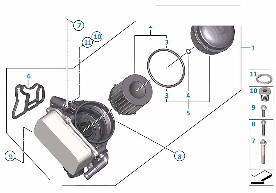 Прокладка корпуса масляного фильтра  Бмв Е87 ЛСi 1 серия