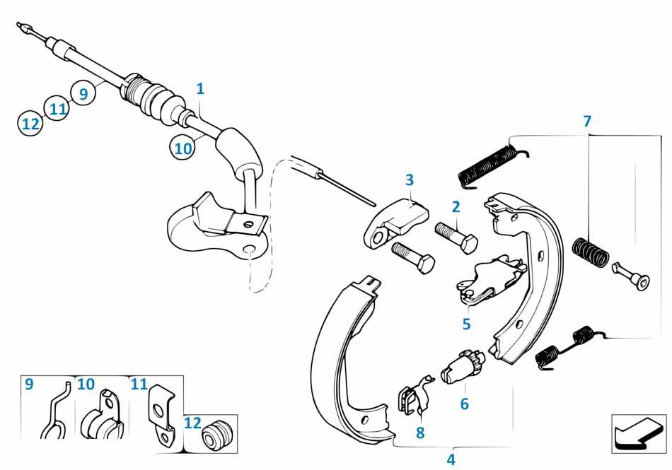 Е87 ремкомплект колодок ручника (пружины)  купить
