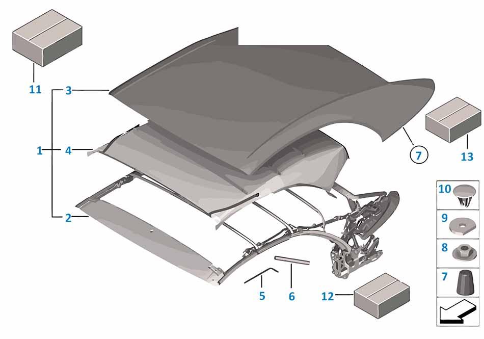1 1988-1994 Ремкомплект механизма люка  заказать