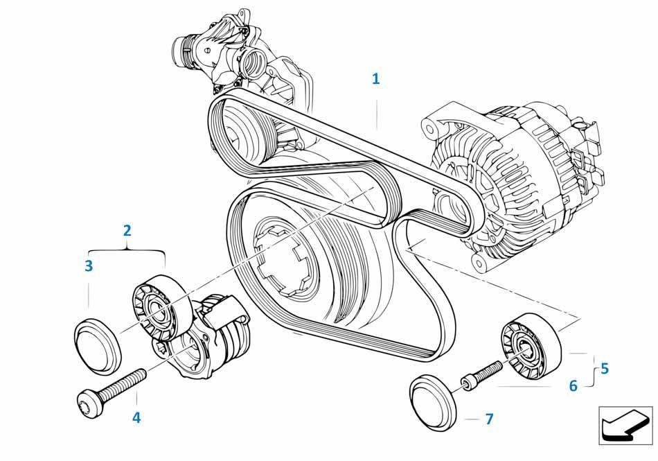 Ремнь привода кондиционера Бмв Е87 ЛСi 1 серия