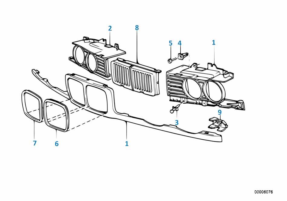 Решетка радиатора (ноздри) Порше Каррера 1993-1998 911