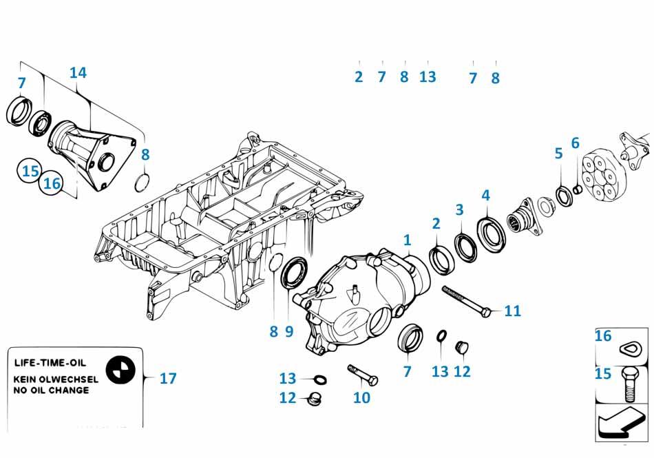 Сальник переднего редуктора Бмв Е87 1 серия