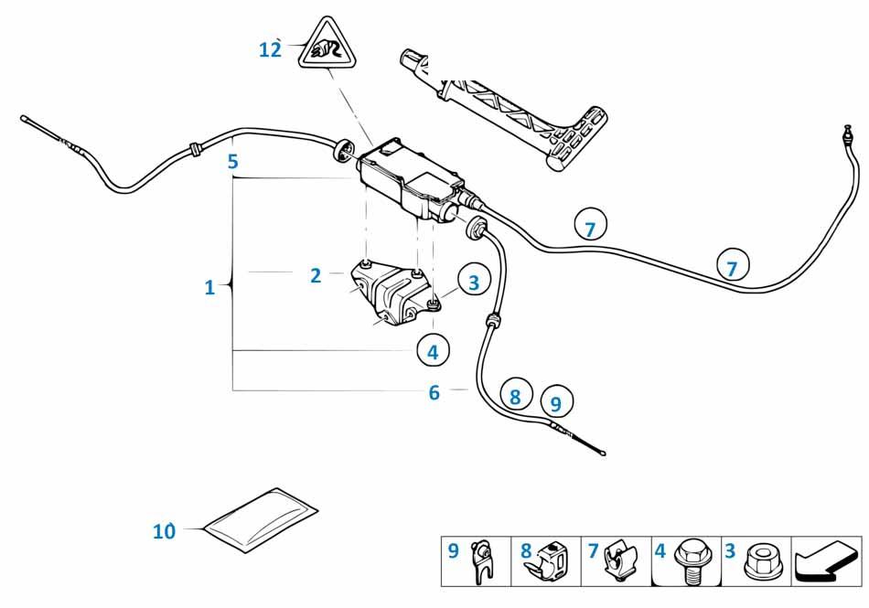 Трос ручного тормоза Бмв Е87 ЛСi 1 серия